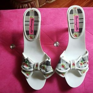 White with multi color bow heels